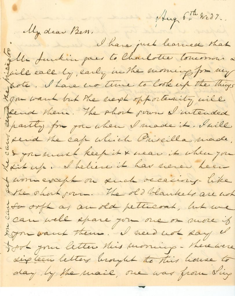 Letter from Mary Lacy to Bess from August 6, 1856.