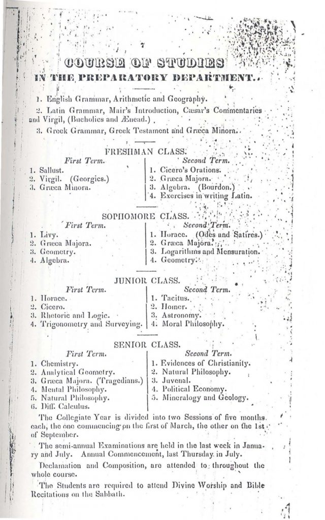 Typed course catalogue page for Davidson College, 1842.