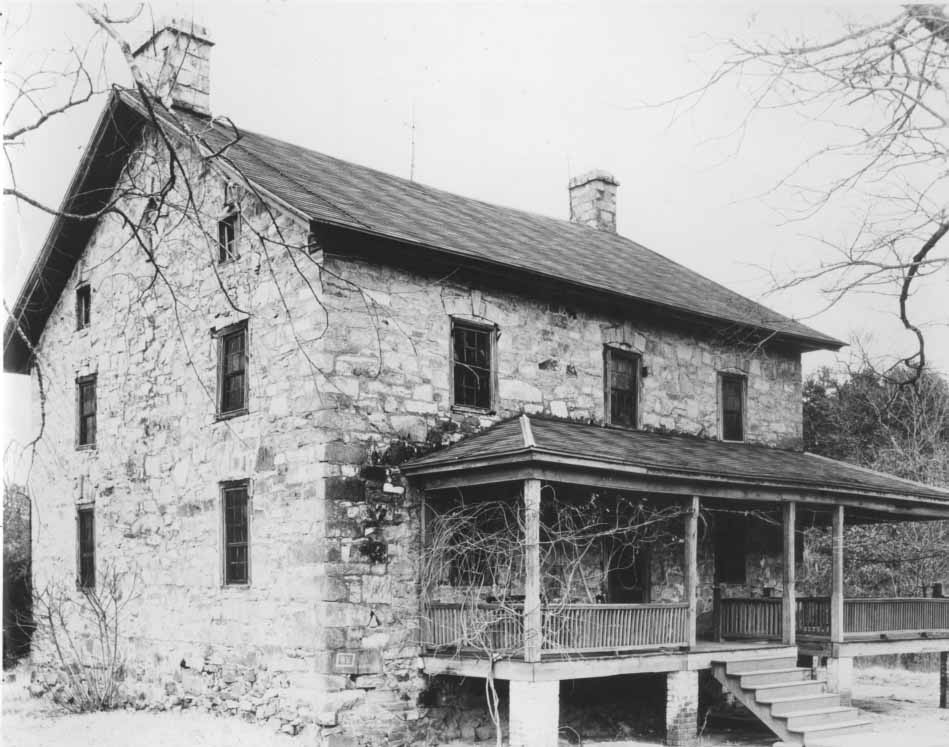 Black and white image of Hezekiah Alexander's House, built in 1774. It is the oldest surviving structure in Mecklenburg County.