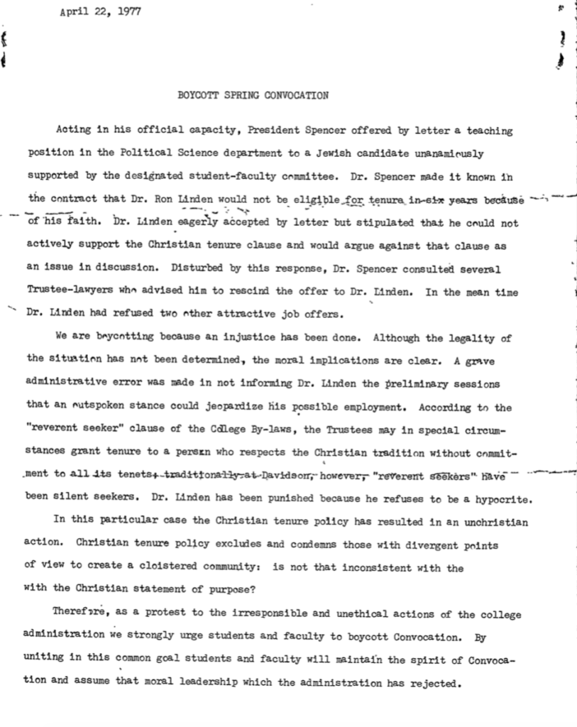 1977 April 22 Student Government Association Boycott Spring Convocation, in response to Linden Affair