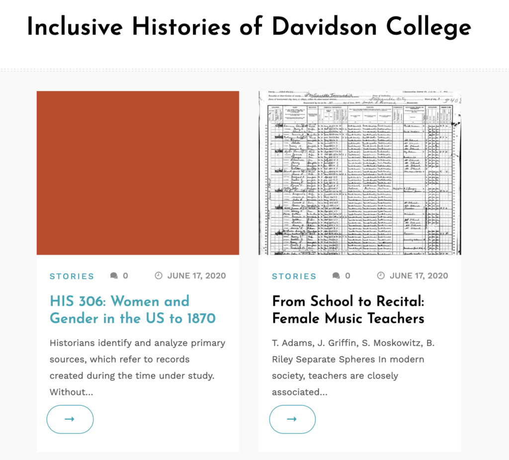 Front page of Inclusive Histories of Davidson College website
