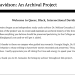 Queer, Black, Intersectional Davidson: An Archival Project